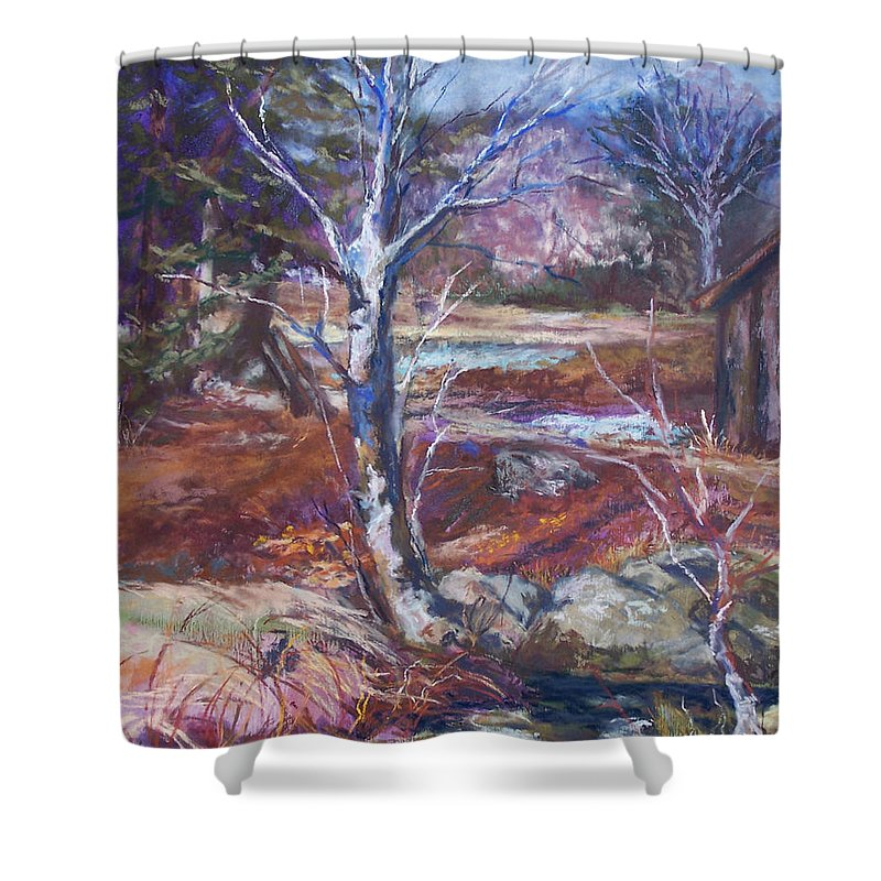 En Plein Air Shower Curtain featuring the pastel Running Upstream by Alicia Drakiotes