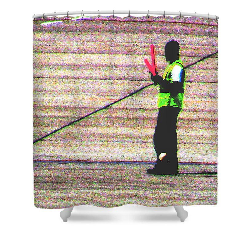 Abstract Shower Curtain featuring the photograph Runway Right by Gary Henderson