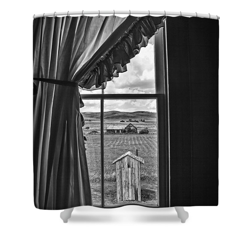Farm Shower Curtain featuring the photograph Rural Outhouse by Steve Ohlsen