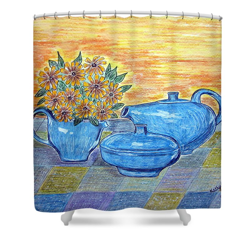 Russell Wright China Shower Curtain featuring the painting Russel Wright China by Kathy Marrs Chandler