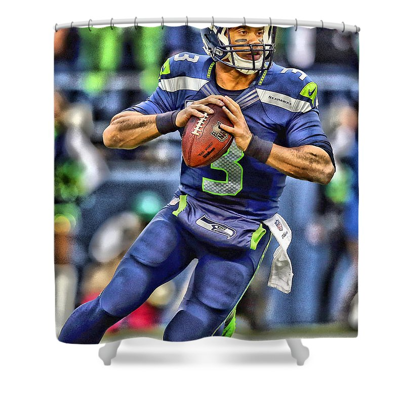 Russell Wilson Shower Curtain featuring the painting Russell Wilson Art 5 by Joe Hamilton