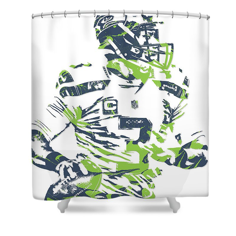 Russell Wilson Shower Curtain Featuring The Mixed Media Seattle Seahawks Pixel Art 10 By