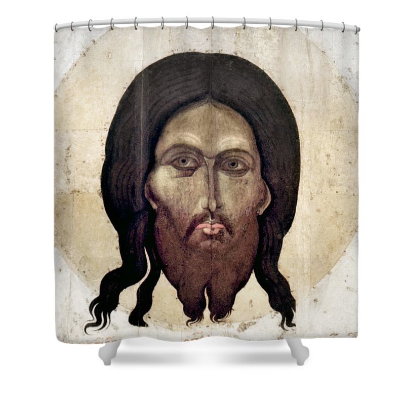 15th Century Shower Curtain featuring the photograph Russian Icon: The Savior by Granger