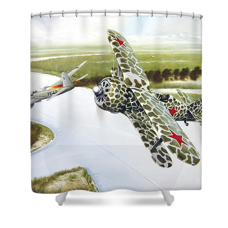 Aviation Shower Curtain featuring the painting Russian Roulette by Marc Stewart