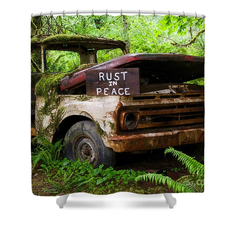 Rusted Truck Shower Curtain featuring the photograph Rust In Peace 2 by Bruce Chevillat