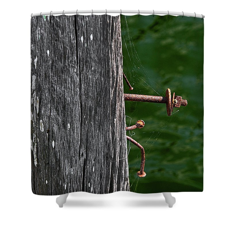 Bolt Shower Curtain featuring the photograph Rusted by Christopher Holmes