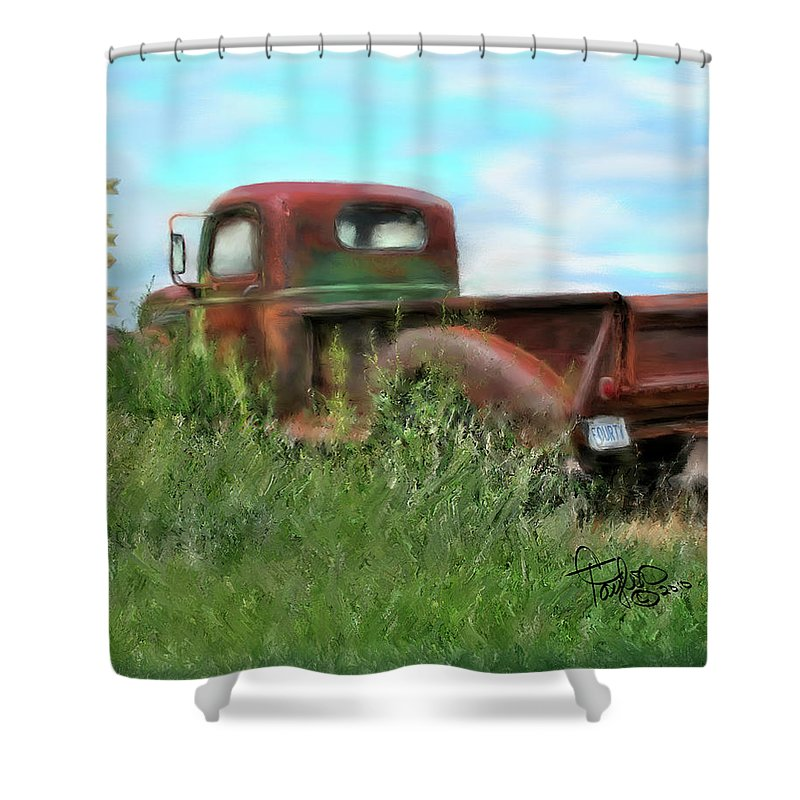 Rusted Out Trucks Shower Curtain featuring the painting Rusted Not Retired by Colleen Taylor