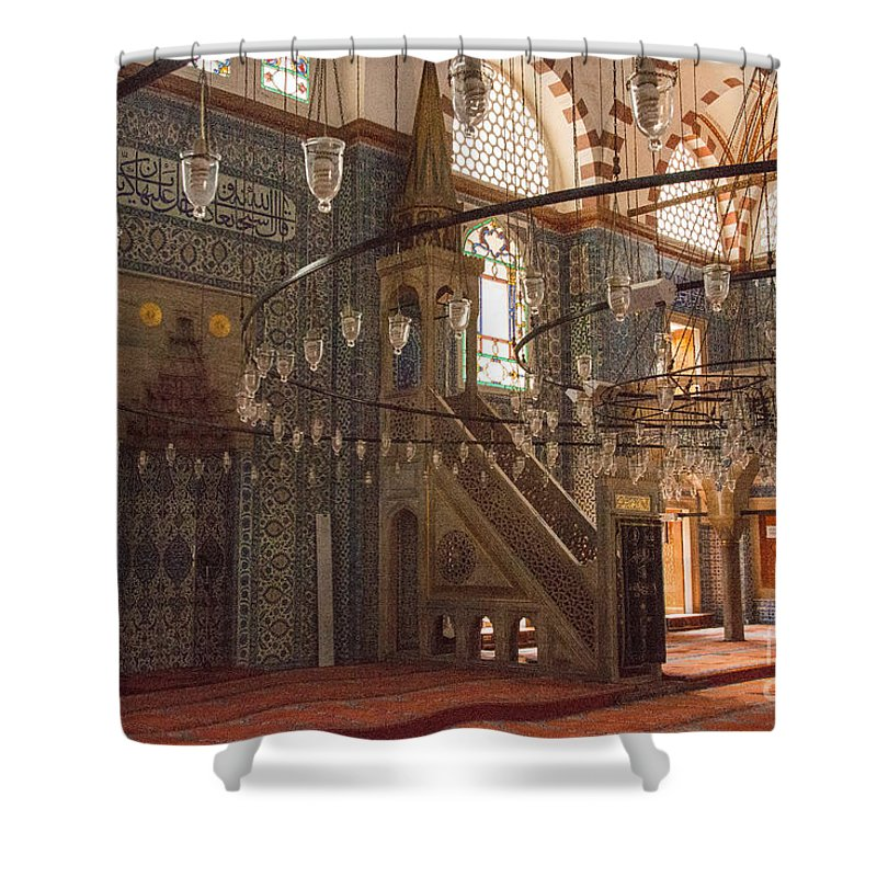 Rustem Pasha Mosque Shower Curtain featuring the photograph Rustem Pasha Mosque Interior by Bob Phillips