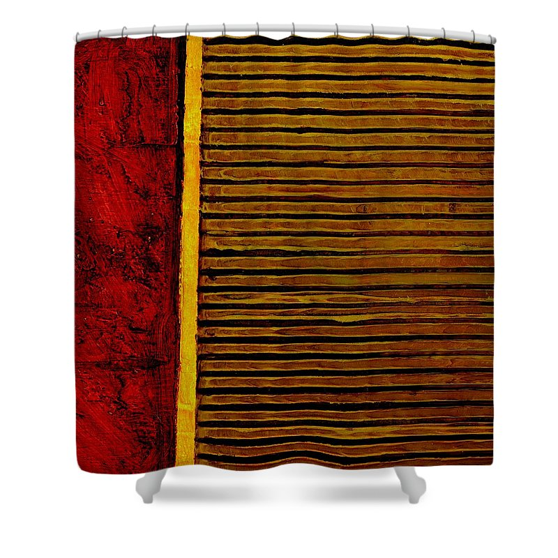 Rustic Shower Curtain featuring the painting Rustic Abstract One by Michelle Calkins