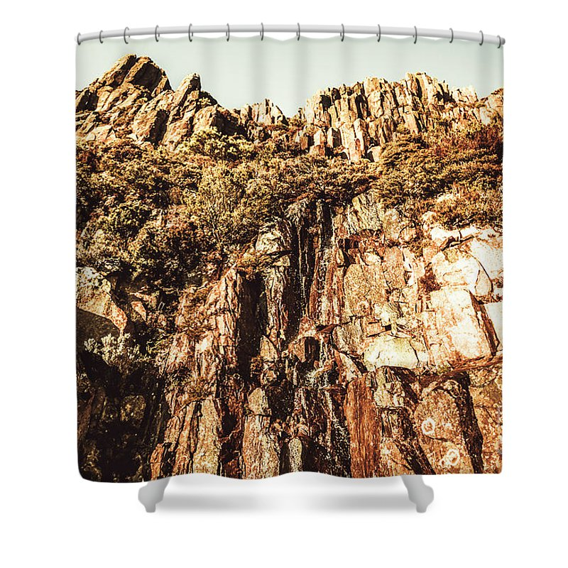 Rock Shower Curtain featuring the photograph Rustic Cliff Spring by Jorgo Photography - Wall Art Gallery