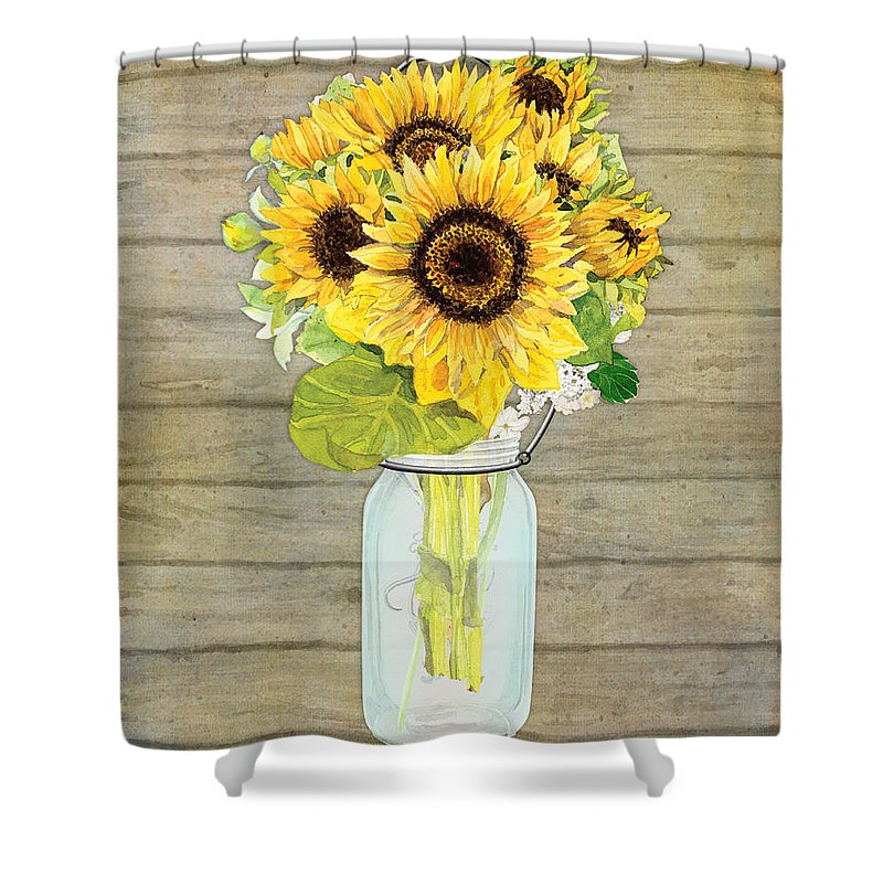 Watercolor Shower Curtain Featuring The Painting Rustic Country Sunflowers In Mason Jar By Audrey Jeanne Roberts