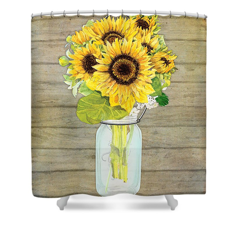 Wonderful Watercolor Shower Curtain Featuring The Painting Rustic Country Sunflowers  In Mason Jar By Audrey Jeanne Roberts