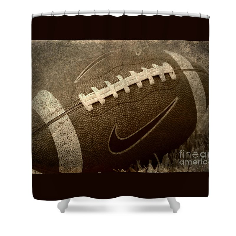 Football Shower Curtain Featuring The Photograph Rustic By Amy Steeples