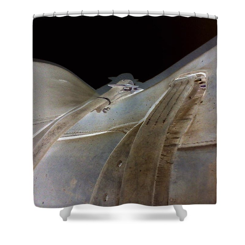 Orphelia Aristal Shower Curtain featuring the photograph Rustic Horse Saddle by Orphelia Aristal