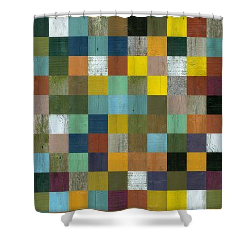 Abstract Shower Curtain featuring the digital art Rustic Wooden Abstract Tower by Michelle Calkins