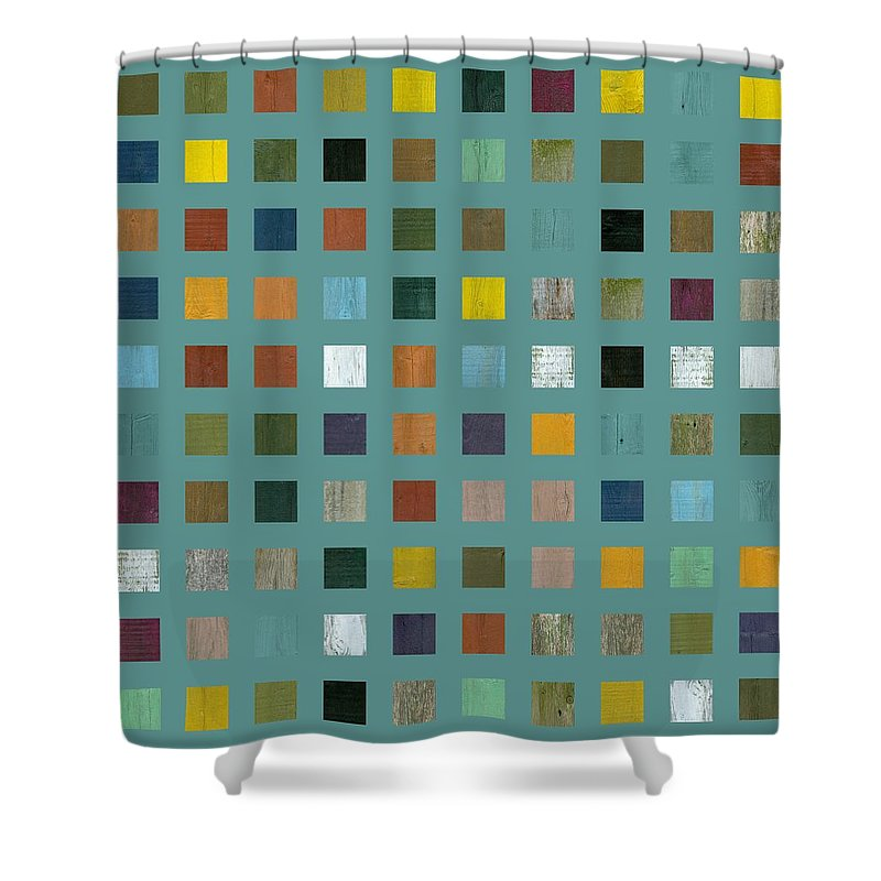 Abstract Shower Curtain featuring the digital art Rustic Wooden Abstract Vl by Michelle Calkins