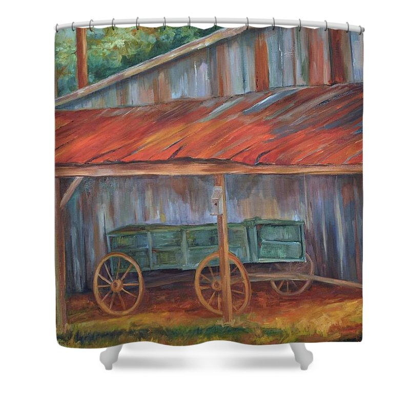 Old Wagons Shower Curtain featuring the painting Rustification by Ginger Concepcion