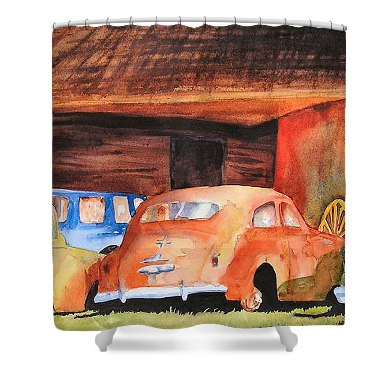 Car Shower Curtain featuring the painting Rusting by Karen Stark