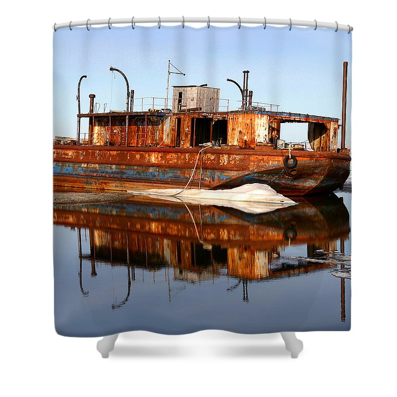 Boat Shower Curtain featuring the photograph Rusty Barge by Anthony Jones