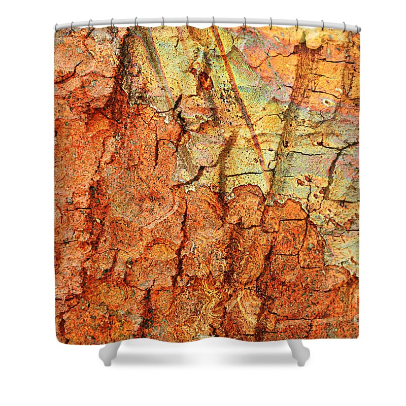 Abstract Shower Curtain featuring the photograph Rusty Bark Abstract by Carol Groenen