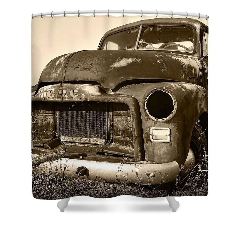 Vintage Shower Curtain featuring the photograph Rusty But Trusty Old Gmc Pickup by Gordon Dean II