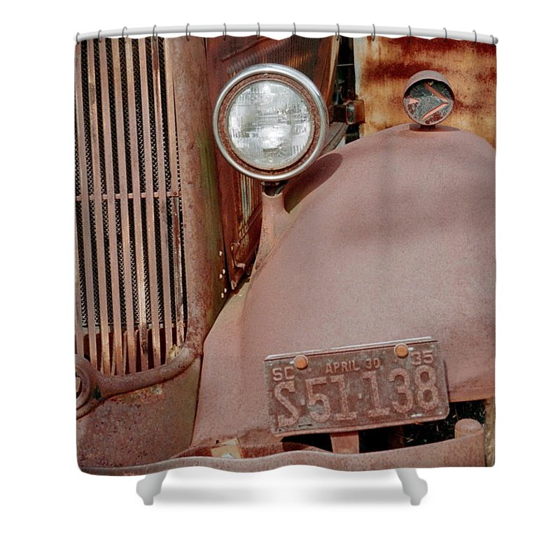 Car Shower Curtain featuring the photograph Rusty by Flavia Westerwelle
