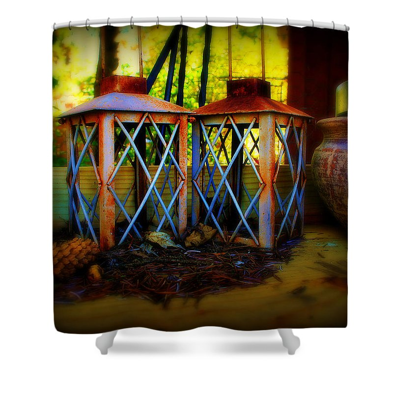 Rust Shower Curtain featuring the photograph Rusty Lanterns  by Perry Webster