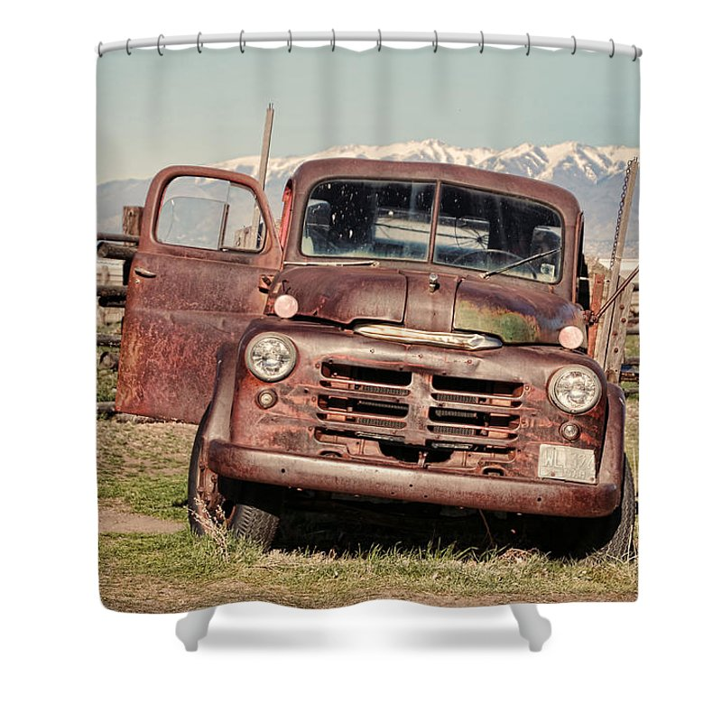 Antelope Island Shower Curtain featuring the photograph Rusty Old Dodge by Ely Arsha