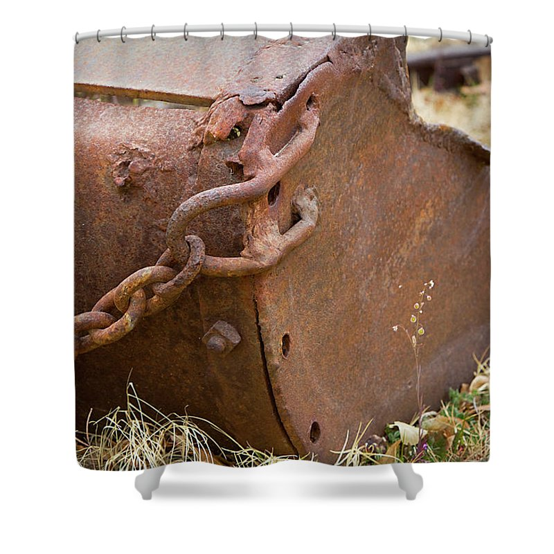 Chain Shower Curtain featuring the photograph Rusty Old Ore Scoop by Phyllis Denton