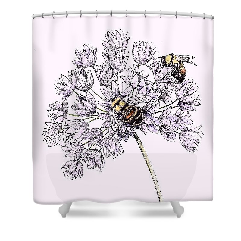 Bees Shower Curtain Featuring The Drawing Rusty Patched Bumble Bee By Angie Lilienthal