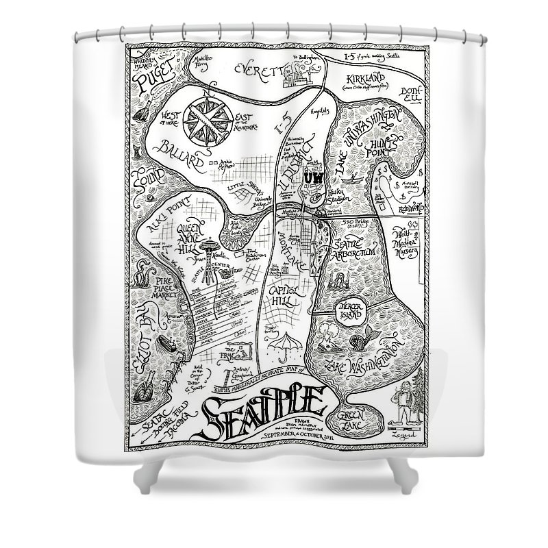 Seattle Shower Curtain Featuring The Drawing Ruths Marginally Accurate Map Of Drawn From Memory By