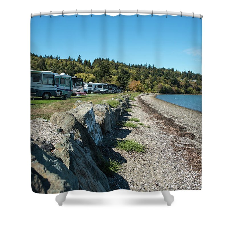 Rvs At The Beach Shower Curtain featuring the photograph Rvs At The Beach by Tom Cochran