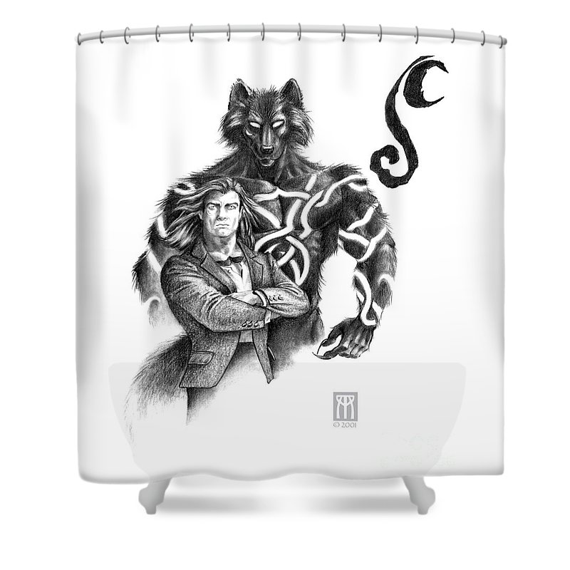 Werewolf Shower Curtain featuring the drawing Ryan With Werewolf by Melissa A Benson