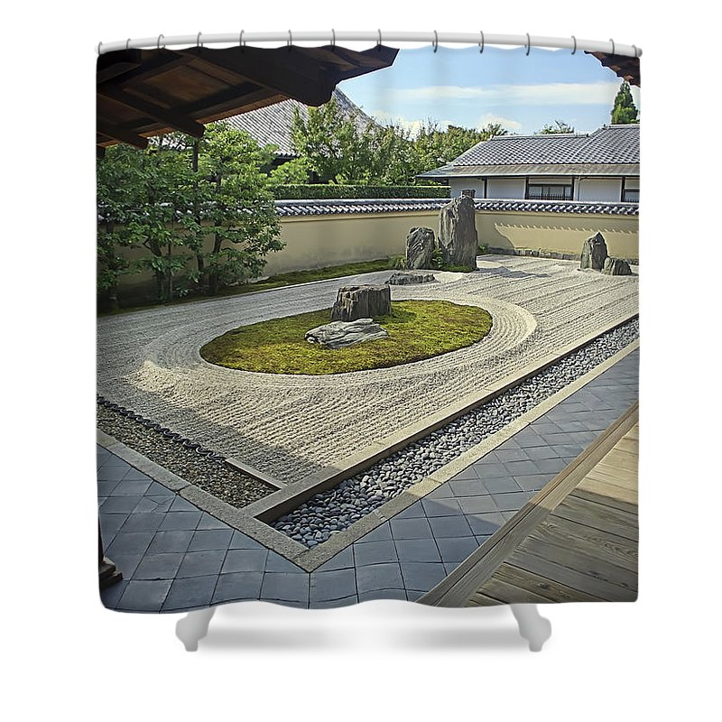 Zen Shower Curtain Featuring The Photograph Ryogen In Rock Garden