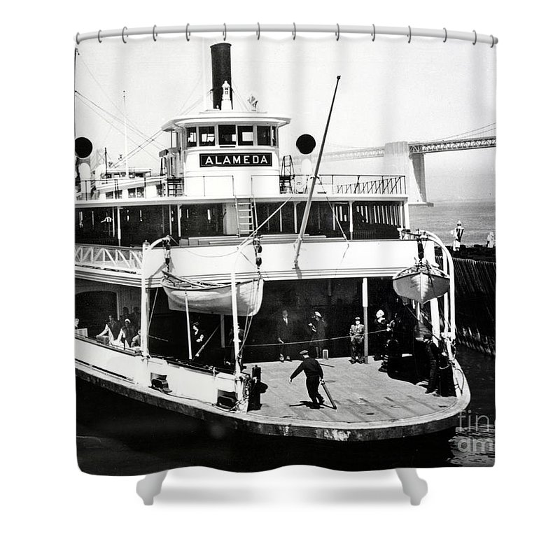 S. P. Shower Curtain featuring the photograph S. P. Ferry Alameda At San Francisco Circa 1940 by California Views Archives Mr Pat Hathaway Archives