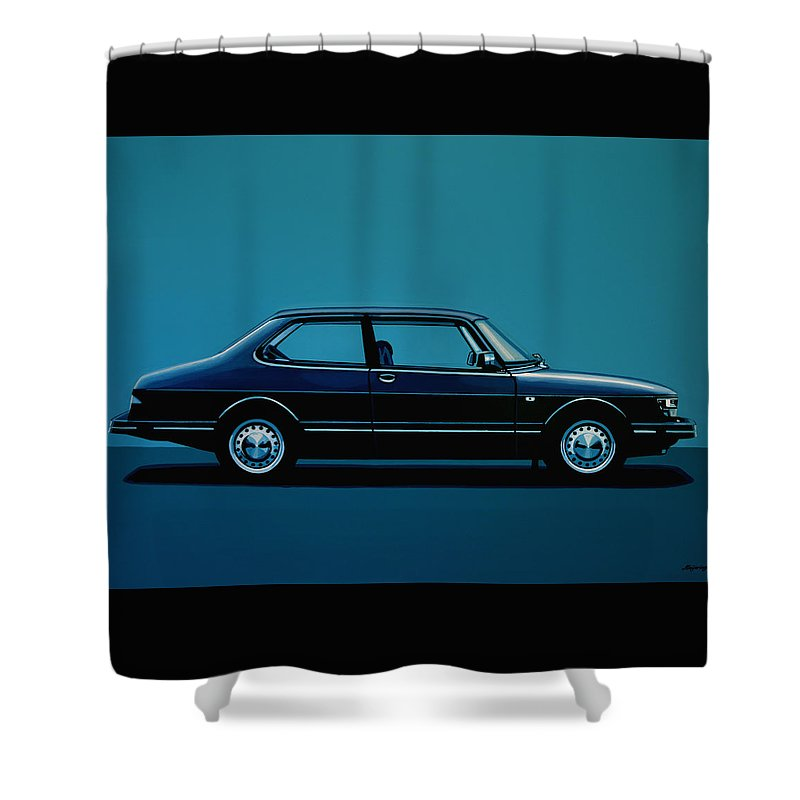 Saab Shower Curtain featuring the painting Saab 90 1985 Painting by Paul Meijering