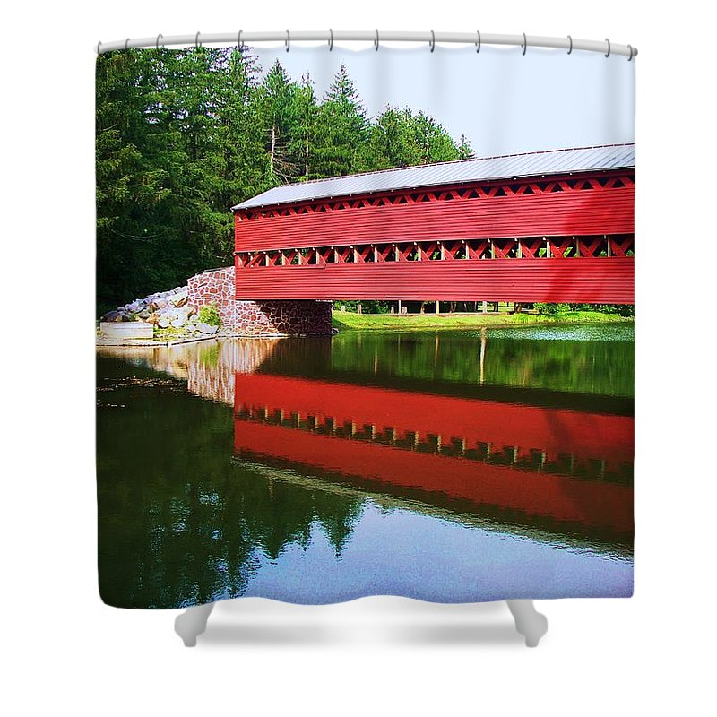 Sachs Bridge Shower Curtain featuring the painting Sachs Bridge by Eric Schiabor