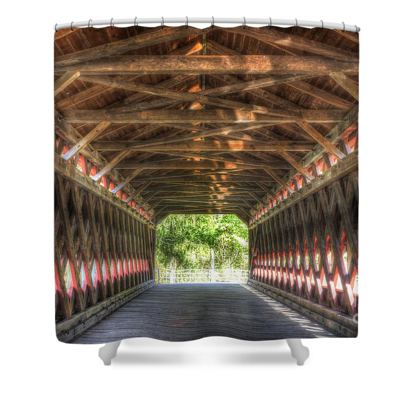 Sachs Shower Curtain featuring the photograph Sachs Bridge - Gettysburg - Vert.-hdr by Paul W Faust - Impressions of Light