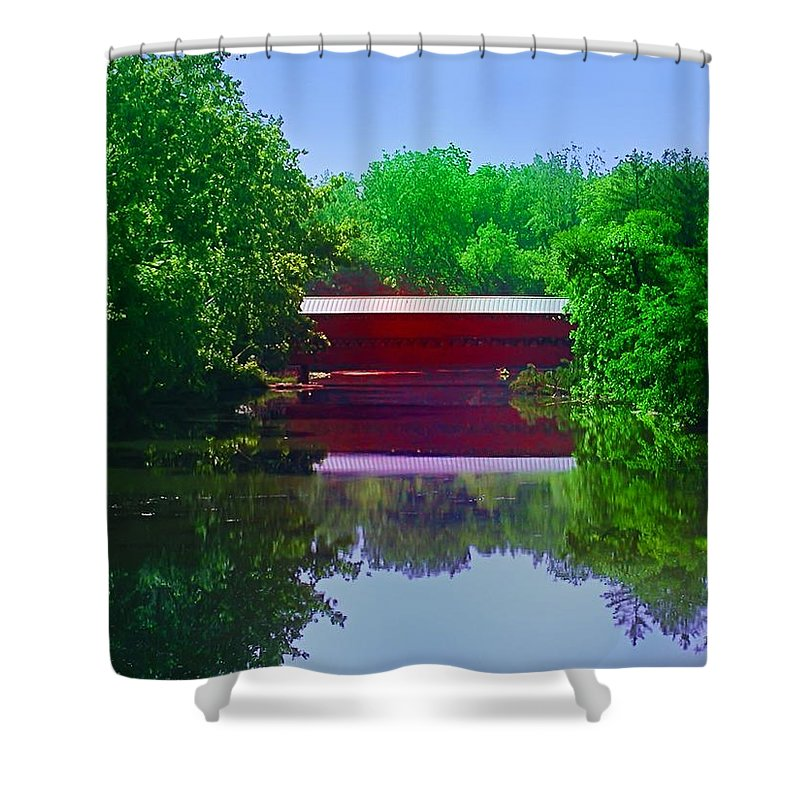 Sach's Shower Curtain featuring the photograph Sachs Covered Bridge - Gettysburg Pa by Bill Cannon