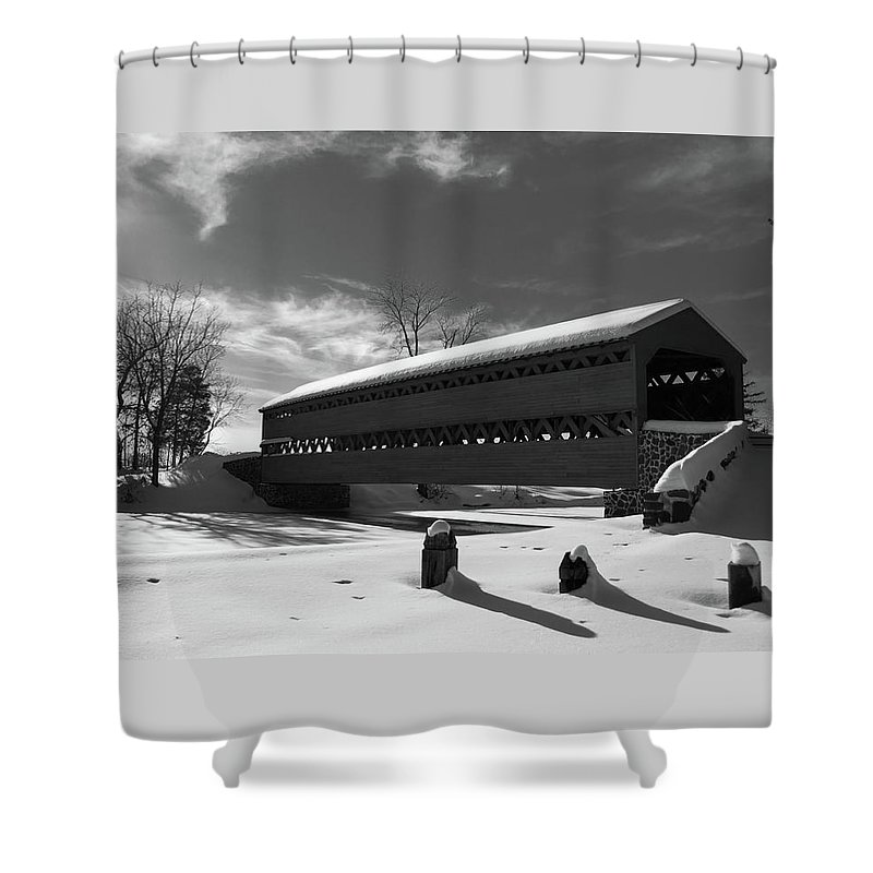 Sach's Bridge Shower Curtain featuring the photograph Sach's Covered Bridge by Kat Zalewski-Bednarek