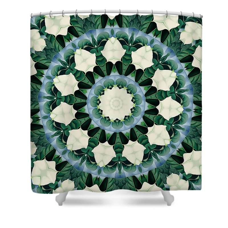 Mandala Shower Curtain featuring the digital art Sacramento Green And Cerulean Blue Mandala by Taiche Acrylic Art