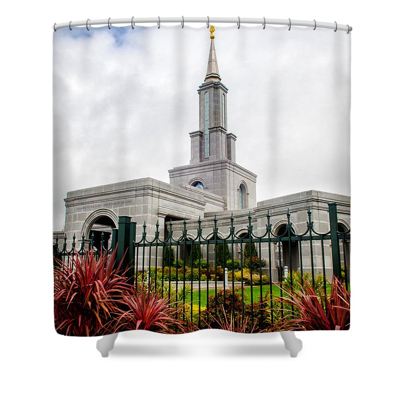 Sacramento Temple Photography Shower Curtain featuring the photograph Sacramento Red by La Rae Roberts