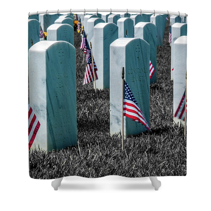 Honor Shower Curtain featuring the photograph Sacramento Valley Veterans Cemetary by Bill Gallagher