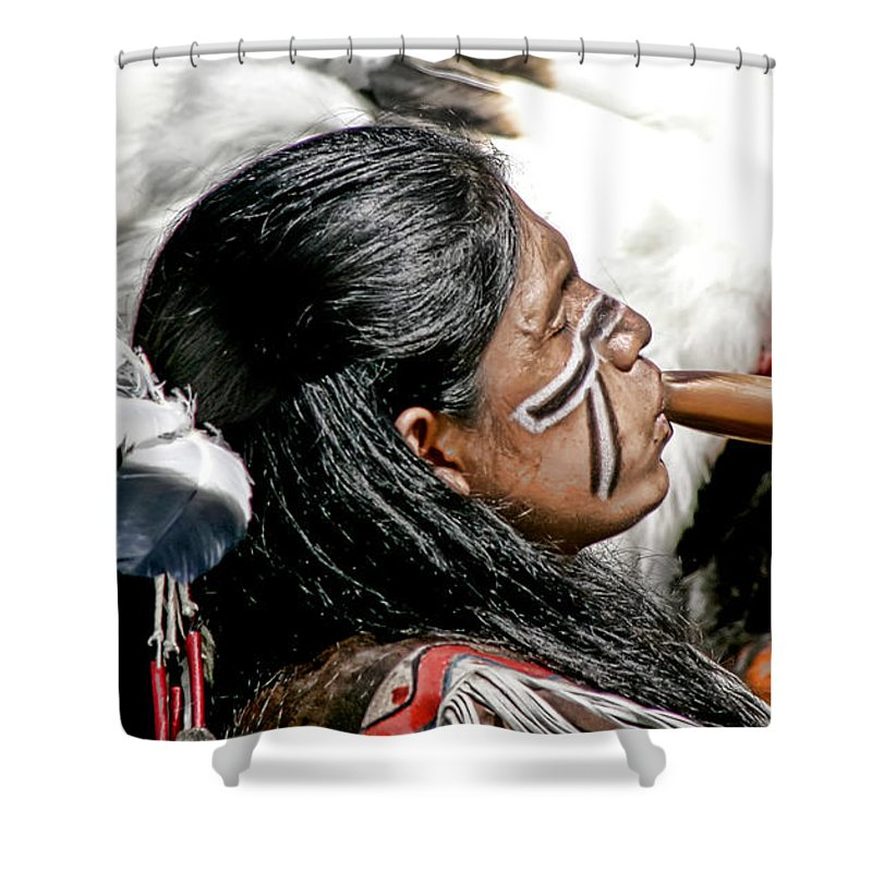 American Indian Shower Curtain featuring the photograph Sacred Flute by Donovan Torres