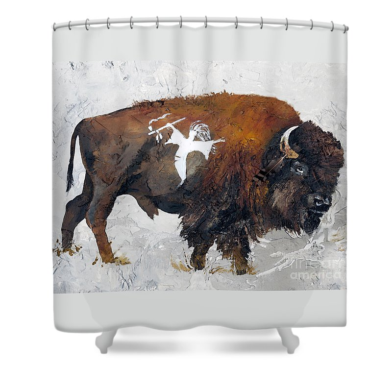 Southwest Art Shower Curtain featuring the painting Sacred Gift by J W Baker