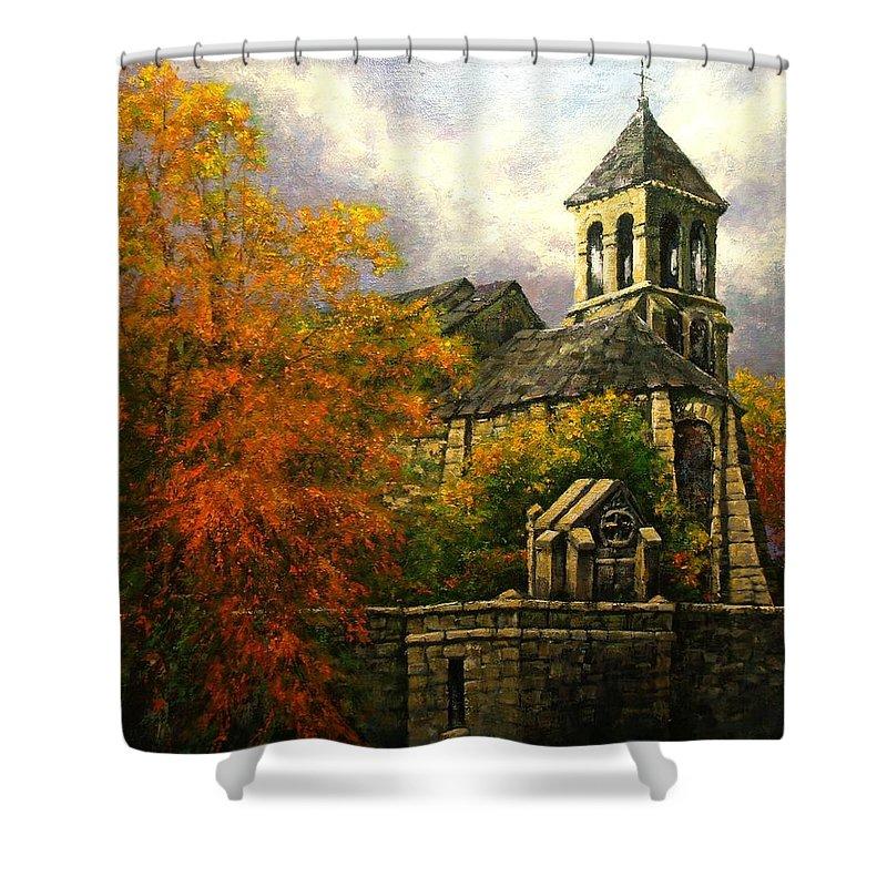 Paris Shower Curtain featuring the painting Sacred Heart Chapel Paris by Jim Gola