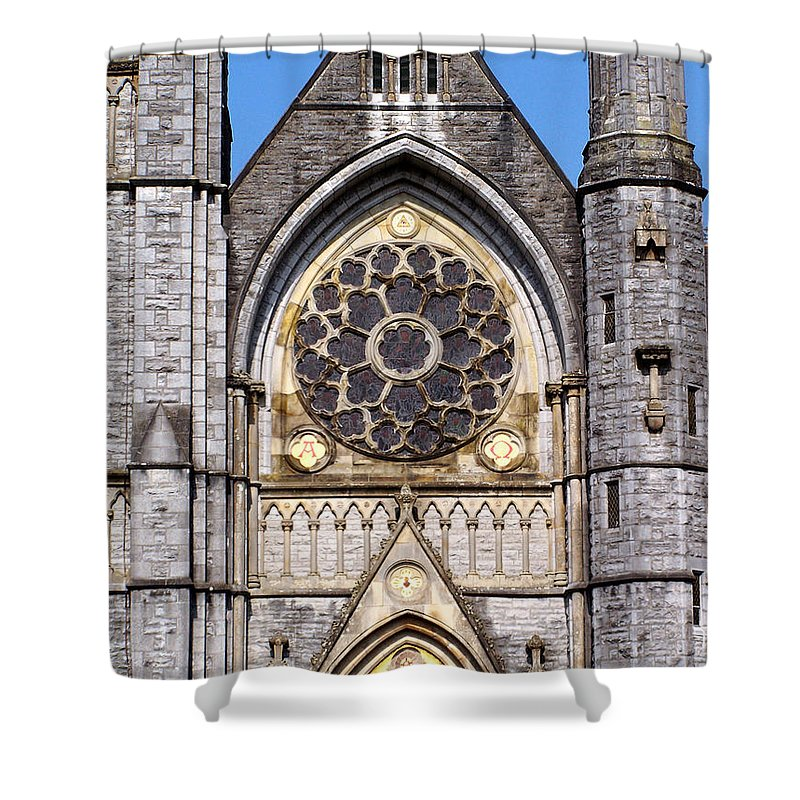 Ireland Shower Curtain featuring the photograph Sacred Heart Church Detail Roscommon Ireland by Teresa Mucha