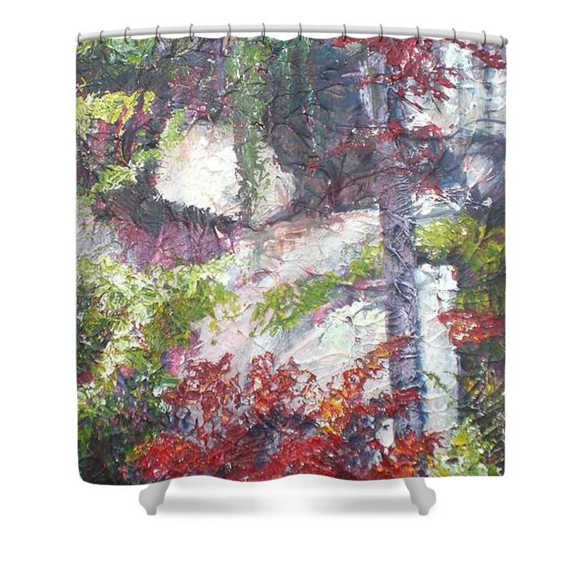 Landscape Shower Curtain featuring the painting Sacred Peace by Sheila Holland