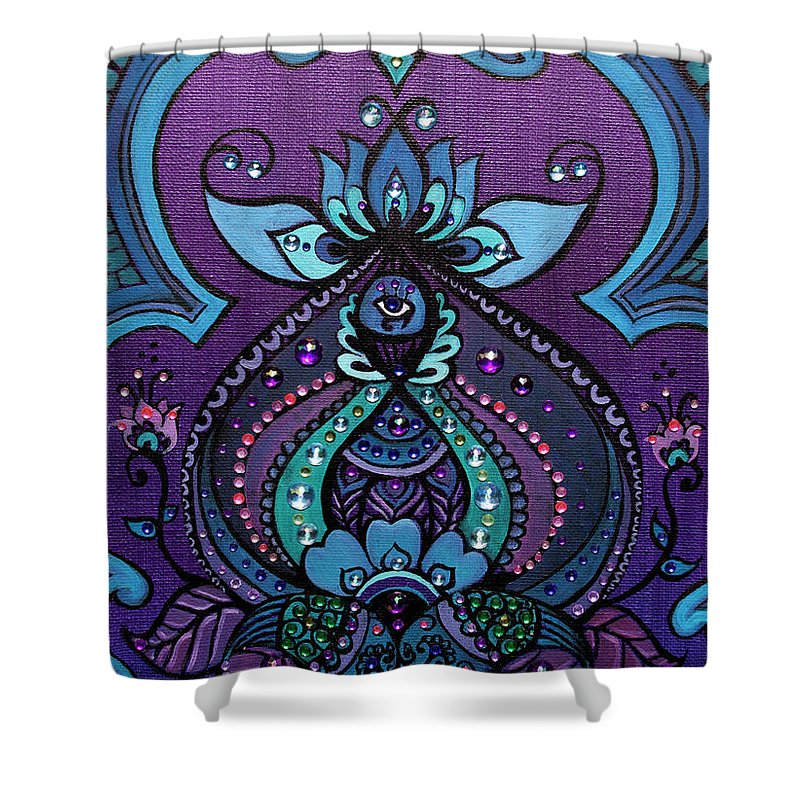 Purple Shower Curtain featuring the painting Sacred Vision by Eleanor Hofer