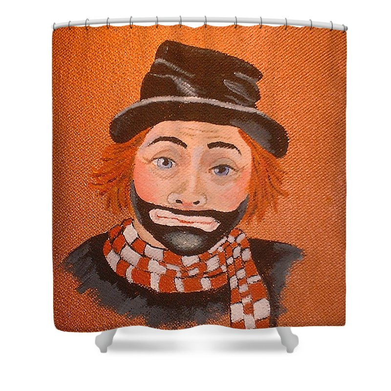 Sad Sack The Clown Shower Curtain featuring the painting Sad Sack The Clown by Arlene Wright-Correll